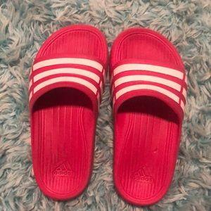Girls Pink Adidas Slides size 12